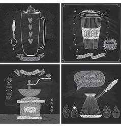 Coffee cards - chalkboard style vector