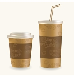 Plastic coffee cup ans disposable cup for vector