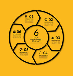Infographic circle template with 6 steps vector