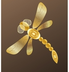 Golden dragonfly on dark background vector