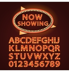 Orange neon lamp letters font show cinema vector