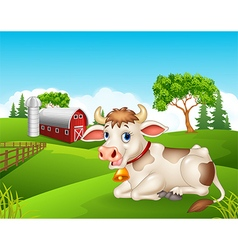 Cartoon cow sitting in the farm vector