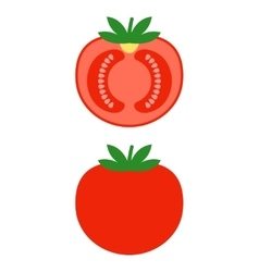 Red tomato colored flat object vegetable vector