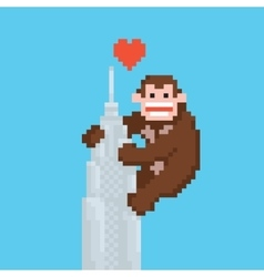 Pixel art style gorilla on a skyscraper vector