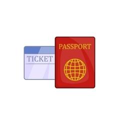 Passport and ticket icon cartoon style vector