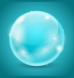 blue glass ball shiny 3d sphere vector image
