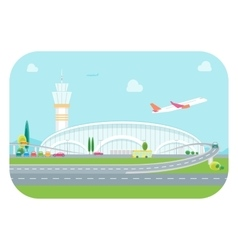 Cartoon airport building and plane vector