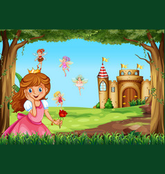 Cute princess and fairies in garden vector