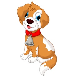 funny puppy cartoon sitting vector image