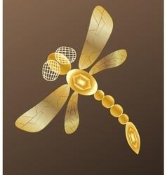 Golden dragonfly on dark background vector