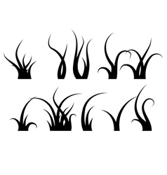 Grass Set Silhouette vector image