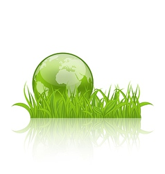 Green concept ecology background grass and earth vector image vector image