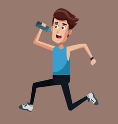 Healthy man running bottle water vector