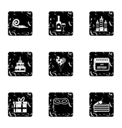 Holiday birthday icons set grunge style vector