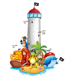 Lighthouse and animals vector image vector image