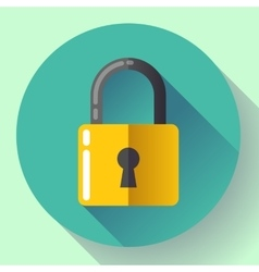 lock icon with long shadow Flat design vector image vector image