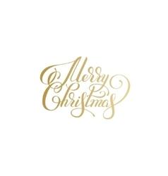 merry christmas gold logo handwritten lettering vector image