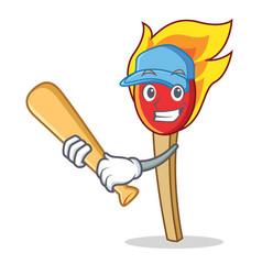 Playing baseball match stick character cartoon vector