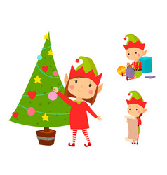 Santa claus kids cartoon elf helpers vector