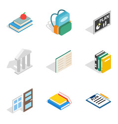 Secondary education icons set isometric style vector