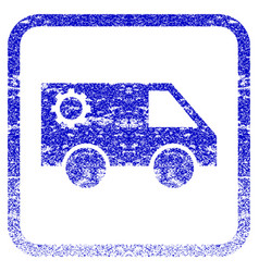 Service car framed textured icon vector