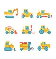 Set modern flat icons of tractors farm machines vector