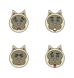 Set of cute cartoon cat with various emotions vector