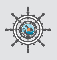 Ship helm and porthole vector