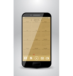 Smartphone with calendar for year 2015 vector