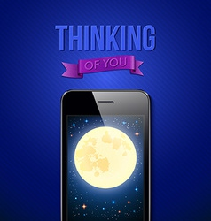 Thinking of you romantic poster with night scene vector