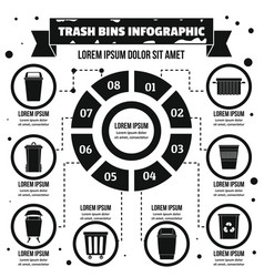 Trash bins infographic concept simple style vector
