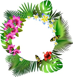 Tropical flowers and leaves and beautiful vector image vector image