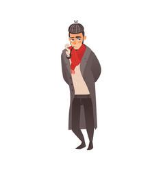 Typical englishman smoking pipe wearing cap coat vector