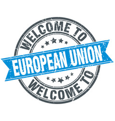 Welcome to european union blue round vintage stamp vector