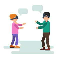wife and husband play with vr device vector image