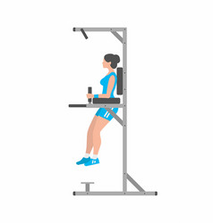 Woman doing triceps dip on parallel bars vector