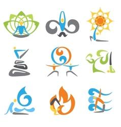 Yoga emblems set vector