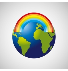 Globe earth weather meteorology rainbow vector