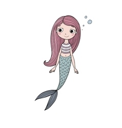 Beautiful cute cartoon mermaid with long hair vector