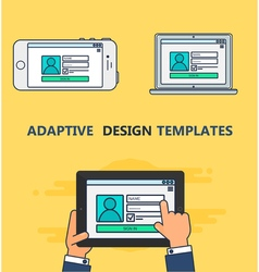 Web template of adaptive login form vector