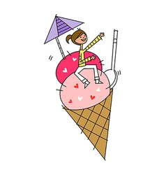 Ice cream woman vector