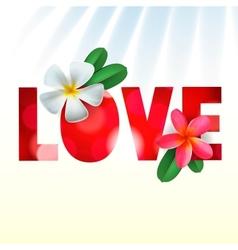 Love card with frangipani flowers vector