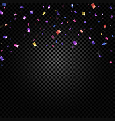colorful confetti falling and ribbons on black vector image