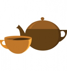 tea pot with cup vector image