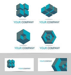 Corporate abstract geometric logo set vector