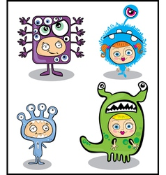 Kids in halloween costumes vector