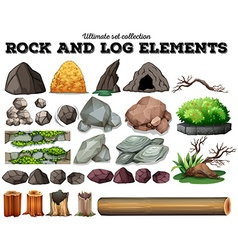 Rock and log elements vector image
