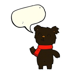 Cartoon cute black bear cub with speech bubble vector