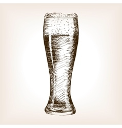 Glass of beer sketch style vector