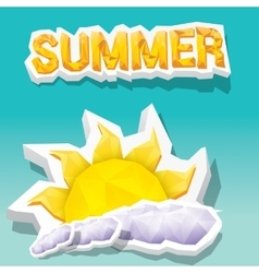 Summer label summer icon with sun vector